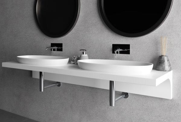 Produzione top bagno lavabi HPL