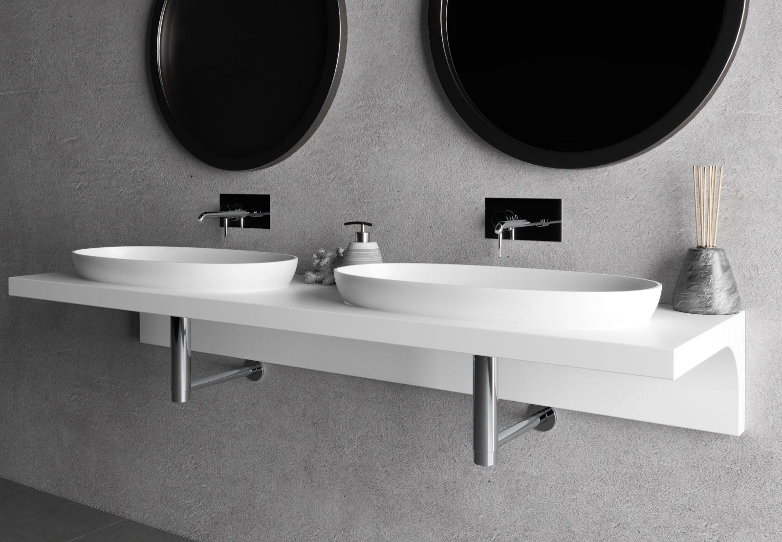 Produzione top bagno, lavabo in Hpl